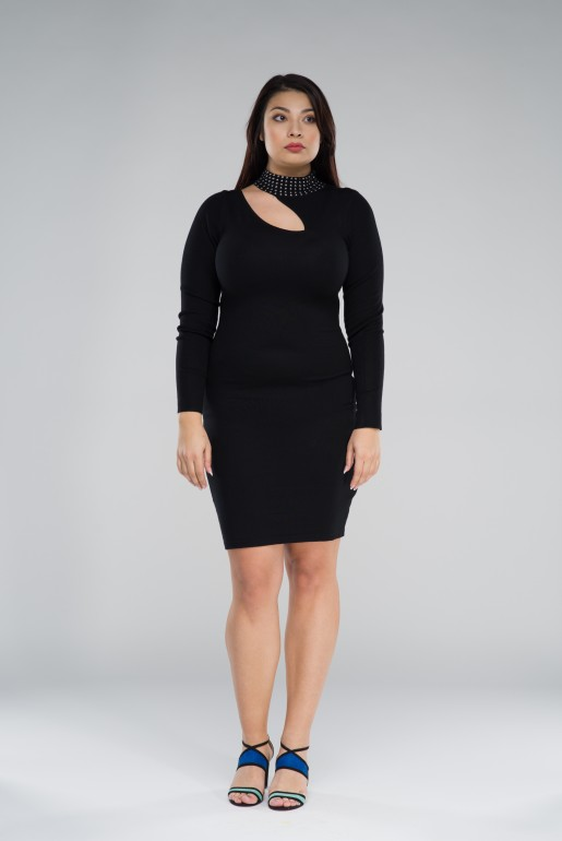 KNITTED BODYCON DRESS WITH STUDS - Image 3